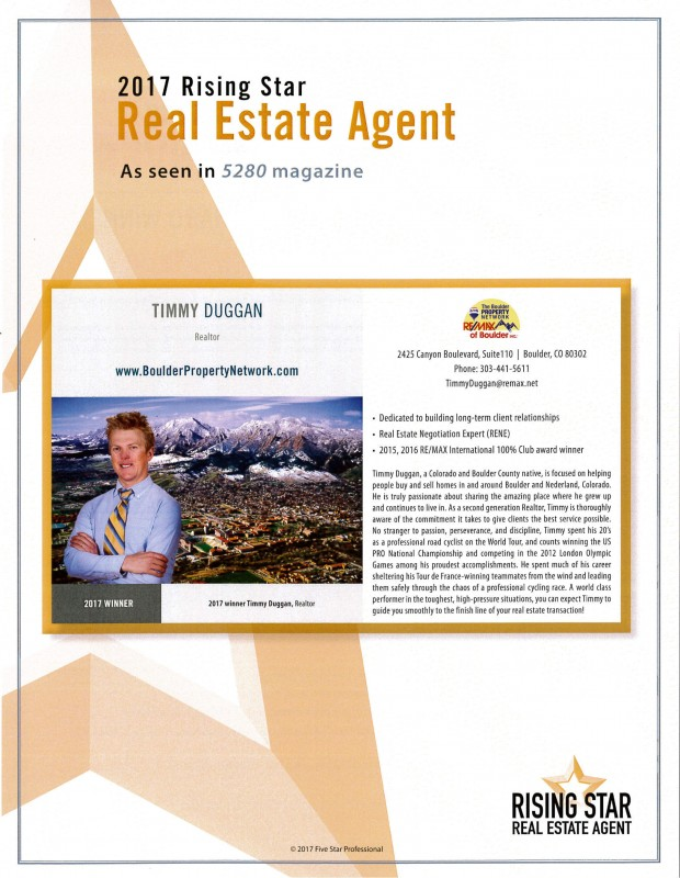 Timmy Duggan named 2017 Rising Star Real Estate Agent!